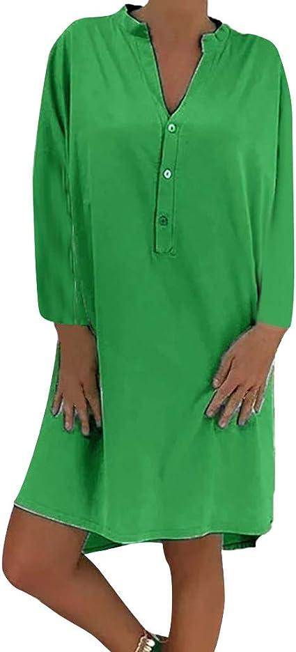 Vestido de Lino de algodón para Mujer Fiesta Casual Camisa Vestido de Manga Larga Suelto Lisos Cuello en V con Botones Tallas Grandes Verde XXXL: Amazon.es: Ropa y accesorios
