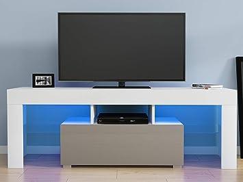 Sanmey - Mueble para televisor (130 cm, luz LED RGB sin Brillo) Blanco y Gris: Amazon.es: Electrónica