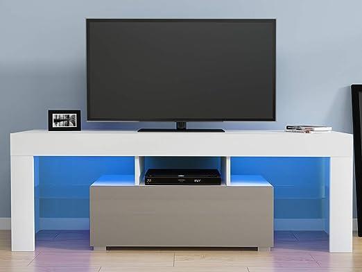 T.Mullen - Mueble de TV Moderno de 130 cm, Mueble de TV con luz LED, Mueble de Alto Brillo para Sala de Estar y hogar: Amazon.es: Hogar