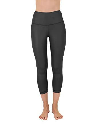 d5800cb4d92 90 Degree By Reflex High Waist Disco Pants - Shiny Hi-Rise Capri Leggings -