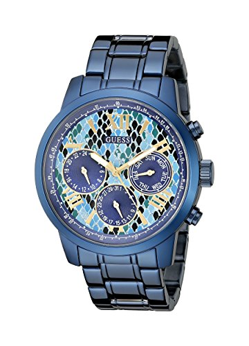 GUESS Women s U0330L17 Iconic Indigo Blue Python Print Multi-Function Watch