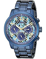 GUESS Womens U0330L17 Iconic Indigo  Blue Python Print Multi-Function Watch
