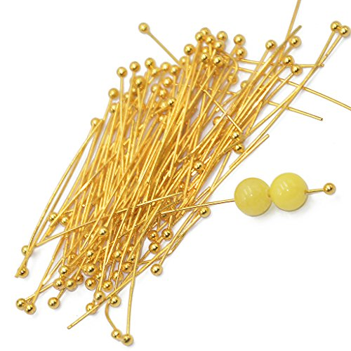 MagiDeal 100pcs 20mm Light Golden Brass Ball Pins Jewelry Findings Headpins - 30 mm