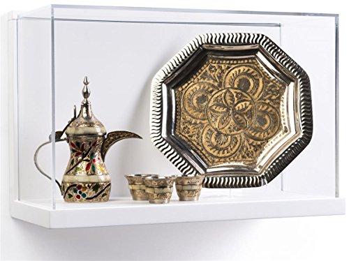 Displays2go, Wall Mounted Shadow Boxes for Museums, Acrylic and MDF Construction - Clear, White, Silver - Museum Case
