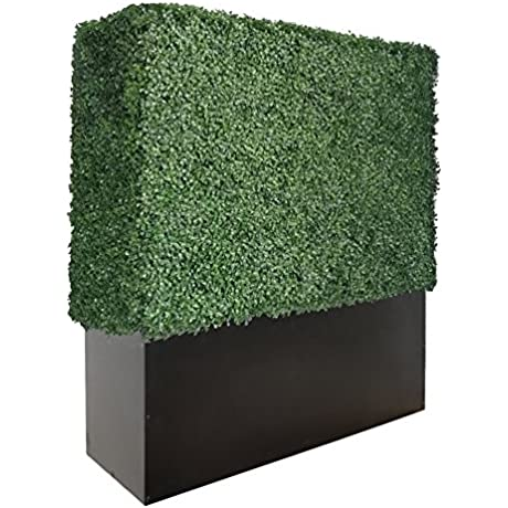 ARTIGWALL Artificial Boxwood Hedge Divider Wall With Black Stainless Steel Planter Box 48 H X 48 L X 12 D