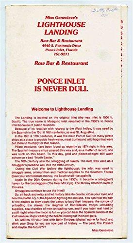 - Lighthouse Landing Raw Bar Restaurant Menu Peninsula Drive Ponce Inlet Florida