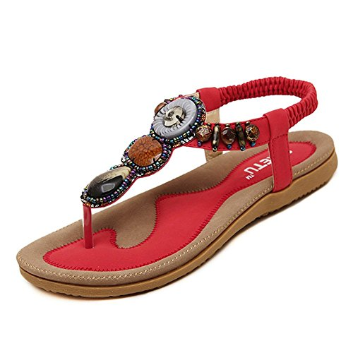Women's Summer Sandals Bohemian Beaded Ankle Walking Strap Size Casual Flip Flops Ladies Beach Sexy Flats Comfortable Shoes Red -