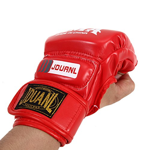 [Pansupply 1 Pair Red Half mitts mitten Boxing gloves Muay Thai kick boxing MMA train gym gloves] (Thailand National Costume For Girls Kids)