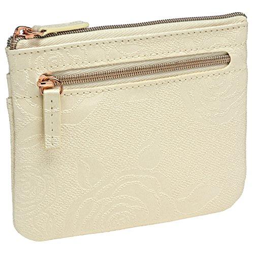 Leather Metallic Cream - Buxton Womens Leather Id Coin Card Case Wallet (Metallic Roses Cream)