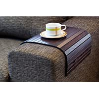 Brown Sofa Side Tray Table - Wood Armrest Tray – Sofa Tray Table - Surface For Coffee/Meals/Laptop - 22.5 x 14