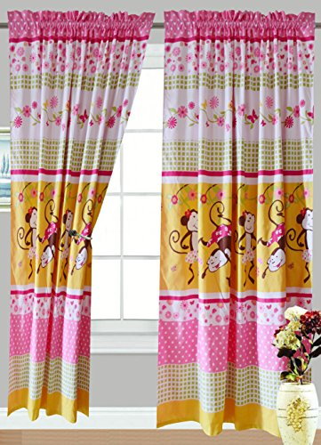 All American Collection 4 Piece Pink Monkey Curtain Set , Matching Sheet Set and Comforter Set Available CURTAIN SET ONLY