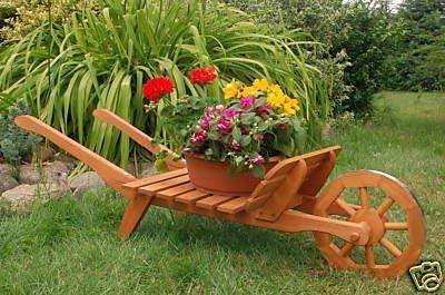 Carretilla de madera decorativa Oramics: Amazon.es: Jardín