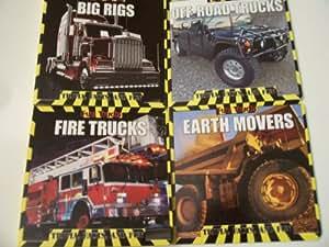 Fun Trucks 4 Educational Board Books ~ Trivia, Facts, and Fun (Big Rigs, Earth Movers, Fire Trucks, Off Road Trucks)
