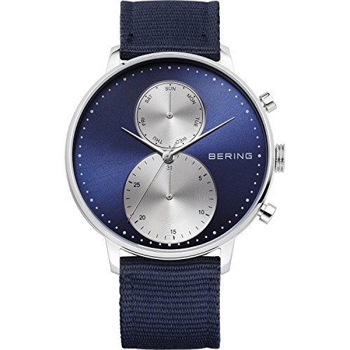 BERING Time 13242-507 Mens Classic Collection Watch with Nylon Band and scratch resistant sapphire crystal. Designed in Denmark.