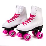 Skate Gear Soft Boot Roller Skate, Retro Fashion High Top Design in Faux Leather for Indoor & Outdoor (Classic Pink, Men's 9/Women's 10)