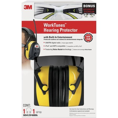 3M WorkTunes Hearing Protector + Bonus SecureFit Eyewear, MP3 Compatible with AM/FM Tuner (90541-SF400BLK) by 3M (Image #5)