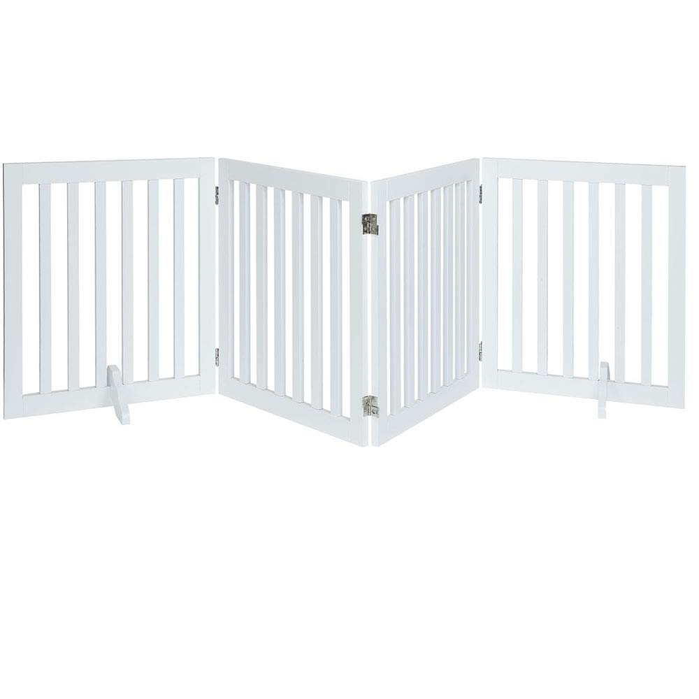 unipaws Freestanding Wooden Dog Gate, Foldable Pet Gate with 2PCS Support Feet Dog Barrier Indoor Pet Gate Panels for Stairs by unipaws (Image #1)