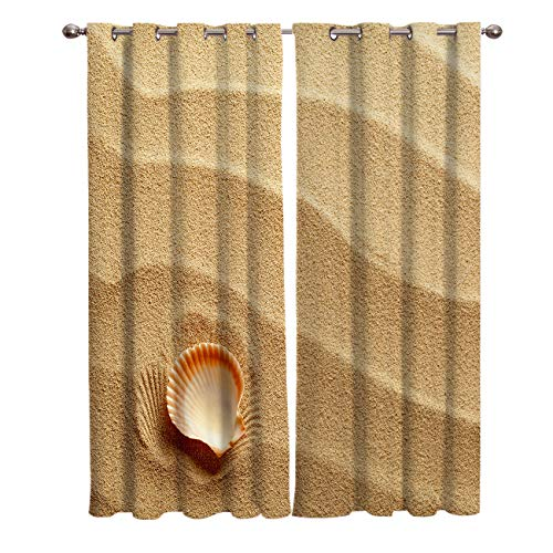 Crystal Emotion Blackout Curtain Window Drapes Thermal Insulated Curtains 2 Panels, Gold Beach with Shell Room Darkening for Living Room Bedroom Window Treatments 27.5x39 - Crystal Blackout Gold Blinds