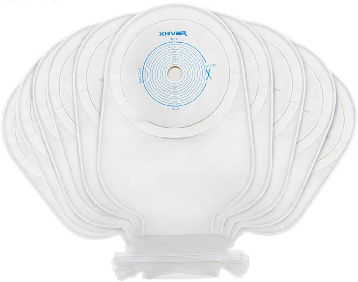 XHIVAR Ostomy Colostomy Supplies 1-Piece Premium Medicals Twist-tie Closure Ostomy Bag Colostomy Pouch One-Piece System, Box of 10: Health & Personal Care