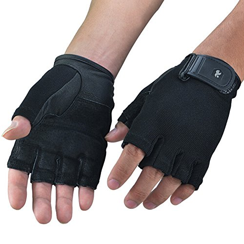 Ezyoutdoor Black Half Finger Fitness Glove for GYM Weightlifting Sport Exercise Cycling Fitness Gloves For Men/Women (M)