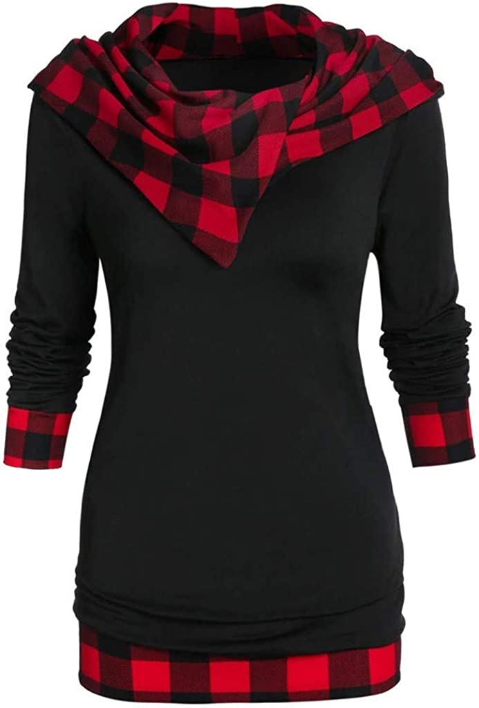 Kekebest Womens Long Sleeve Checked Panel Hooded Blouse Cloak Tunic Asymmetric Casual Tops 2020 New Winter Sale T-Shirt