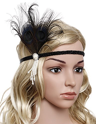BABEYOND Women's Roaring 1920s Gatsby Headpiece Flapper Headband with Bow and Tassel (Black) ()