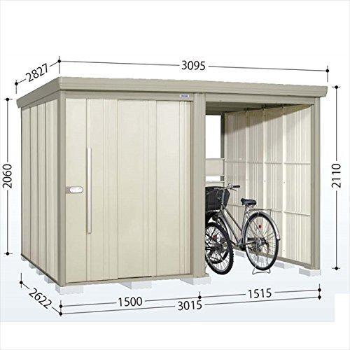 タクボ物置 TP/ストックマンプラスアルファ TP-S3026 多雪型 標準屋根 『駐輪スペース付 屋外用 物置 自転車収納 におすすめ』 ムーンホワイト B00V5KZFRM