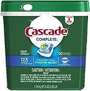 Cascade Dishwasher Detergent Pods, Complete Actionpacs Dishwasher Pods, Fresh Scent, 90 Count