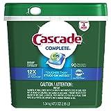Cascade Complete ActionPacs Dishwasher Detergent Soap, Fresh Scent, 90 Count