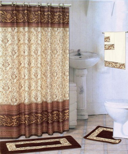 Amazon.com: Coffee 18-piece Bathroom Set: 2-rugs/mats, 1-fabric ...
