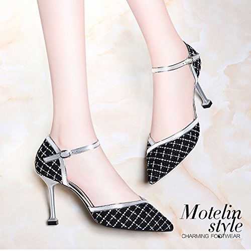 Women Summer Sexy Pointy High Heels Sandals Ladies Ankle Strap Buckles Sandals Court Shoes For Daily Party Dress Pumps Black tcH0XgC6DI