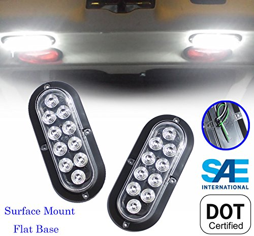 Set of 2 Oval Oblong 6 Clear White Backup Reverse Day Time Driving LED Light Flange Surface Mount Truck Trailer - Screw On