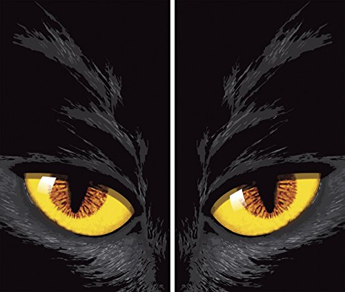 (Yellow Eyed Cat Glowing Eyes Halloween Window Decoration)
