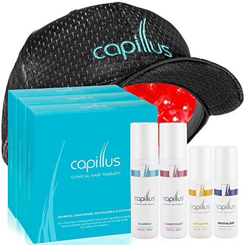 Capillus82 Laser Hair Growth Hat & 3 Clinical Hair Regrowth Treatment Bundles for Treating Hair Loss (3 Shampoos, 3 Conditioners, 3 Revitalizers & 3 Activators) - New Flexible Fitting Cap by Capillus