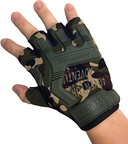 Ranger Return Tactical Half Finger Fingerless Light Assault Gloves Protection Riding Fitness Working Cycling Outdoor Sports Athletic Biking - Camo (GLOVE-CAMO)
