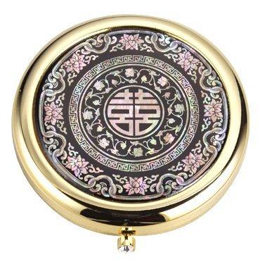 Argent J plaqué or boîtier compact cosmétique pour le remplissage de poudre libre, mère main de cadeau de perles, Heeja