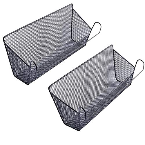 2Pack Dormitory Bedside Storage Baskets, YIFAN Mesh Origanizer Caddy for Books Phones Drinks Office Home Table Hanging Organizer Desktop Corner Shelves - - Camp Bunk Beds Metal