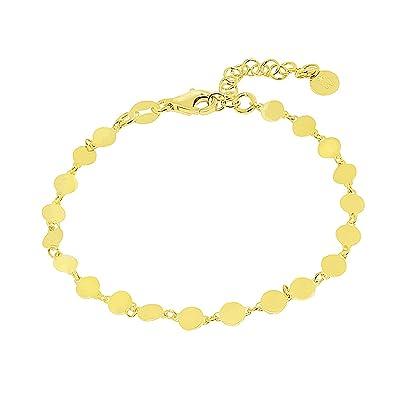 476f43821ec2 WANDA PLATA Pulsera Cadena Chapas para Mujer Plata de Ley 925 con Baño de  Oro