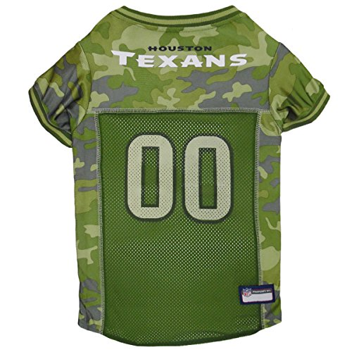 Pets First NFL Houston Texans Camouflage Dog Jersey, Small. - CAMO PET Jersey Available in 5 Sizes & 32 NFL Teams. Hunting Dog Shirt ()