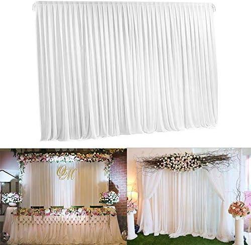 UKMASTER Hochzeit Hintergrund Vorhang Seide Hintergrund Weiß Fotohintergrund für Hochzeit Bühne Dekoration 2 x 2 cm