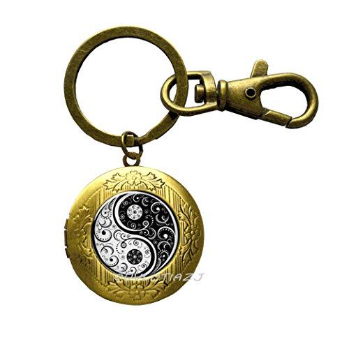 Tai ji yin yang Locket Keychain Charming Jewelry Accessories, Best Friend Locket Keychain, Tai Ji Locket Key Ring, Tai Chi Locket Key Ring,ot361 -