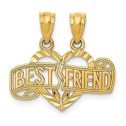 14k Yellow Gold Break Apart Best Friends Bestfriend Friendship Heart Pendant Charm Necklace Break?apart Love Fine Jewelry Gifts For Women For Her ()