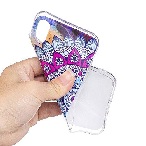 Custodia per Apple iPhone X Cover ,ZXLZKQ rosa Datura Alta qualità Morbido TPU Silicone Coperchio Cover Protezione Custodia Soft Shell Skin Case per Apple iPhone X