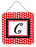 Caroline's Treasures Letter C Initial with Red Black Polka Dots Wall or Door Hanging Prints, 6 x 6'', Multicolor