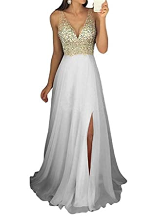 Baijinbai Womens Deep V-Neck Beaded Cocktail Dresses Evening Prom Gowns Ivory UK26