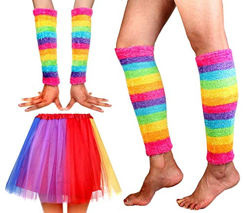 Women's Rainbow Long Gloves Socks and 3 Layered Tulle Tutu Skirt Party Accessory Set -