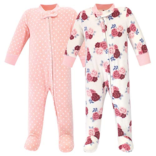 Hudson Baby Unisex Baby Fleece Sleep and Play, 0-3 Months (3M), Floral 2-Pack