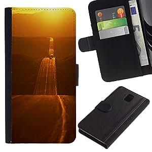 SAMSUNG Galaxy Note 3 III / N9000 / N9005 Modelo colorido cuero carpeta tirón caso cubierta piel Holster Funda protección - Gold Road Freedom Open Highway