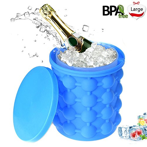 Kitchen Ice - Ice Cube Maker Genie Silicone Revolutionary Space Saving Ice Ball Maker Bucket Party Drink Tub Trays Mold Kitchen Tools for Chilling Burbon Whiskey Cocktail Beverages (6 X 5.5 inch)