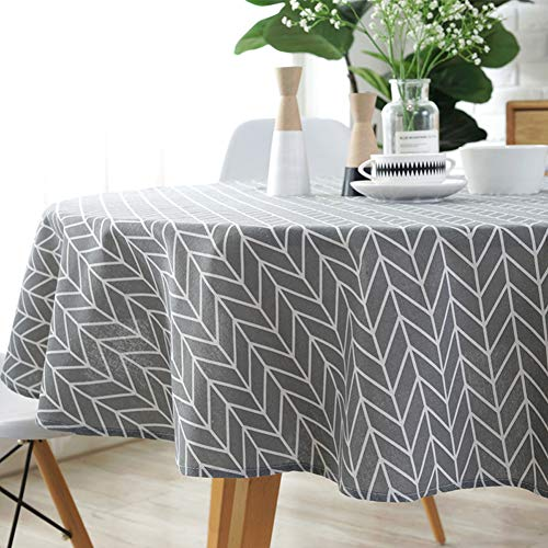 Amzali Classic Geometric Series Tablecloth Arrow Pattern Cotton Linen Dust-Proof Table Cover for Kitchen Dinning Tabletop Home Decor (Round 60 Inch,Grey)